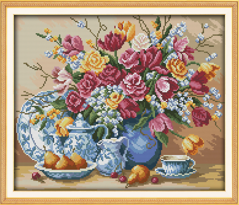 Needlework,11/14ct DIY Cross stitch,Sets For Full Embroidery kits,Fruit and Rose Vase Flower counted Pattern Cross-Stitch Gift