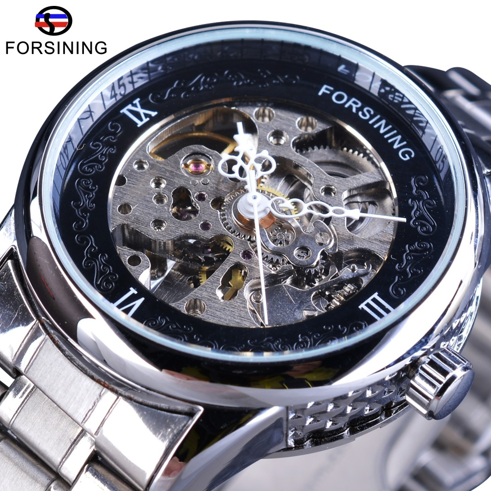 Forsining Silver Stainless Steel Pattern Dial Design Open Work Skeleton Mens Mechanical Wrist Watches Top Brand Luxury Automatic forsining 3d skeleton twisting design golden movement inside transparent case mens watches top brand luxury automatic watches
