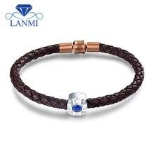 LANMI цельный 18Kt белый золотой Натуральный Синий сапфир мужской браслет настоящий бриллиант ювелирные изделия для мужчин