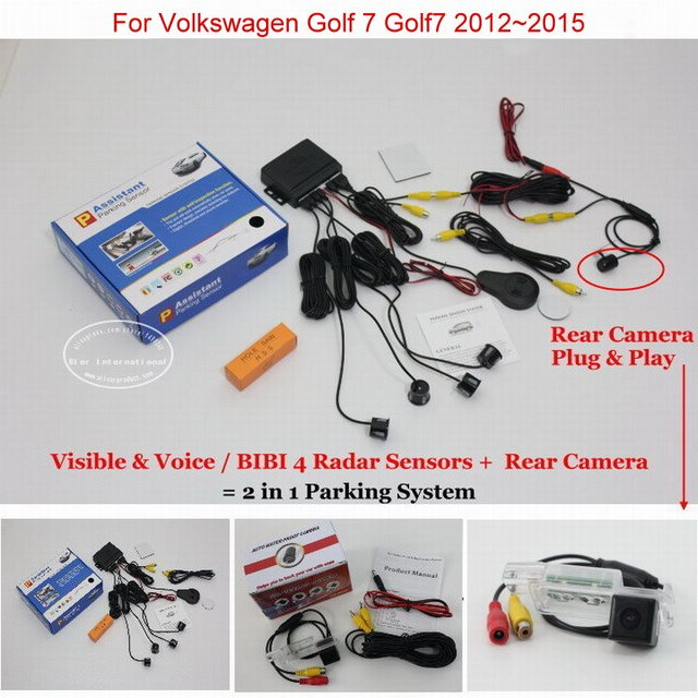 For Volkswagen VW Golf 7 Golf7 - Car Parking Sensors + Rear View Back Up Camera = 2 in 1 Visual / BIBI Alarm Parking System