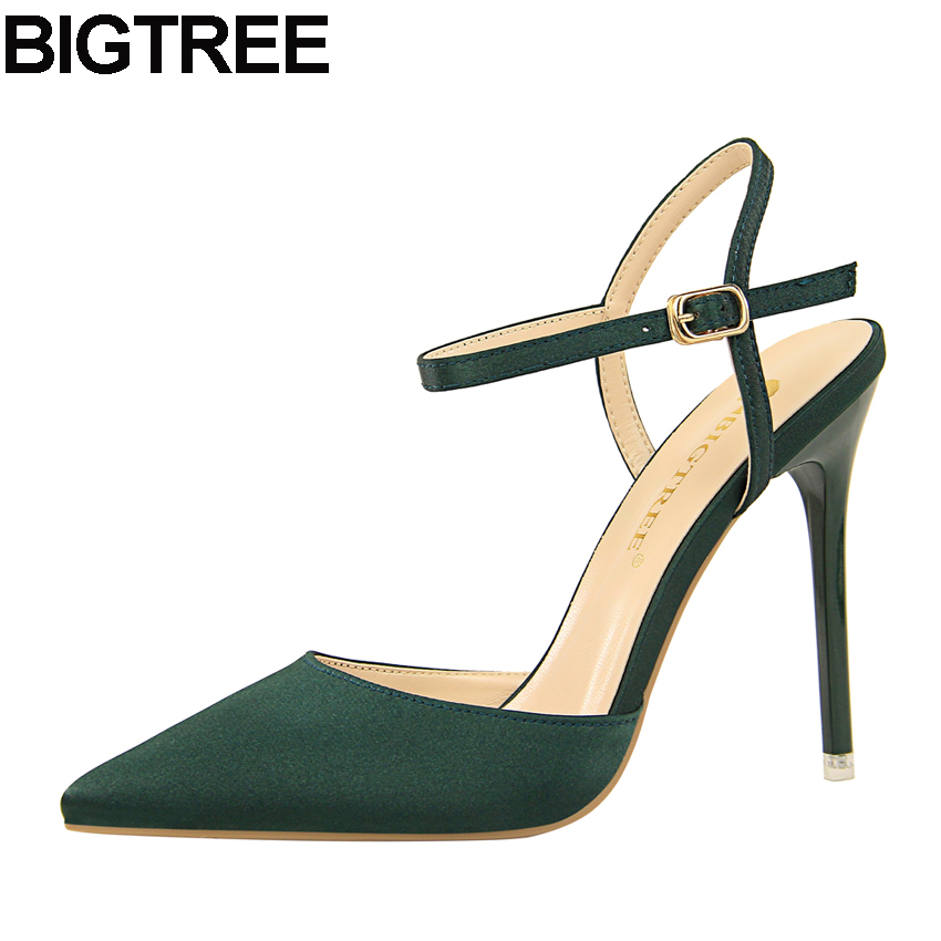 BIGTREE Women Pointy Toe Satin Pumps Ankle Strap High Heels Office Lady Dress Shoes Ankle Strap Slingback Faux Silk Sandals 2018 women office shoes solid color fashion pointed toe stiletto high heels elastic band ankle strap slingback sandals pumps leather
