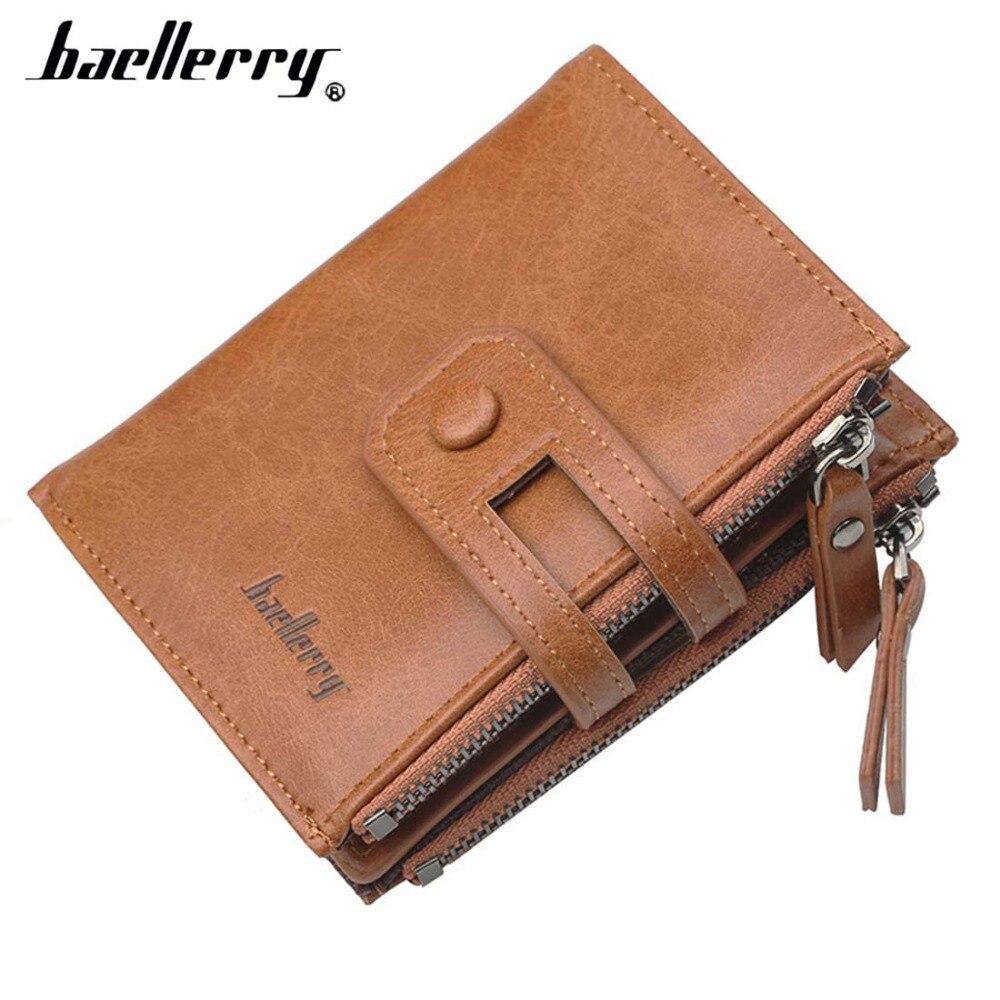 2018 Baellerry Men Wallets Leather Double Zipper Card Holder Short Male Purse Coin Pocket Vintage Brand High Quailty Men Wallets