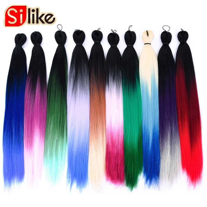 Silike Pre-Stretched Easy Braiding Jumbo Braids Pre-Feathered Natural layers 24Inch Synthetic Lightweight Wear Hair Extension