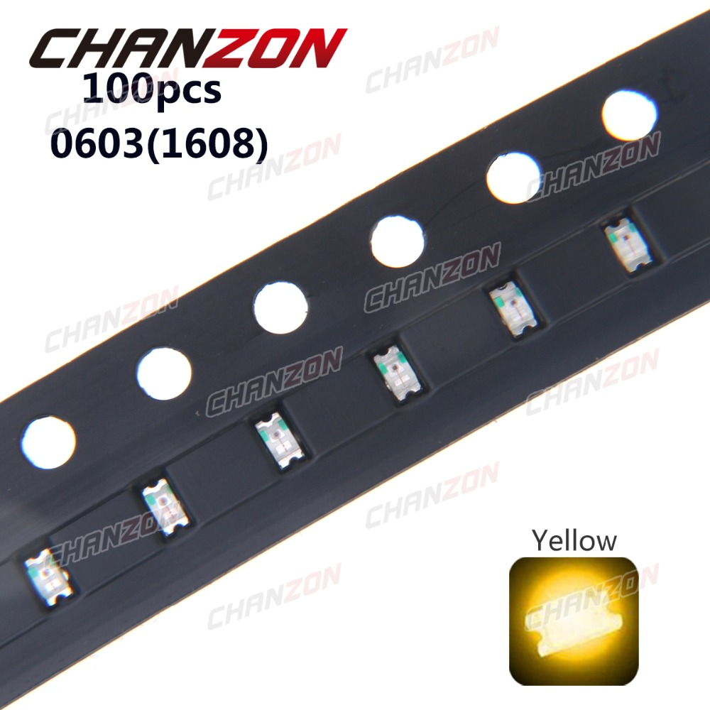 100pcs 0603 Yellow <font><b>SMD</b></font> (<font><b>1608</b></font>) <font><b>LED</b></font> Chip 20mA 2V Surface Mounted Device Light Emitting Diode Lamp Electronics Components for PCB image