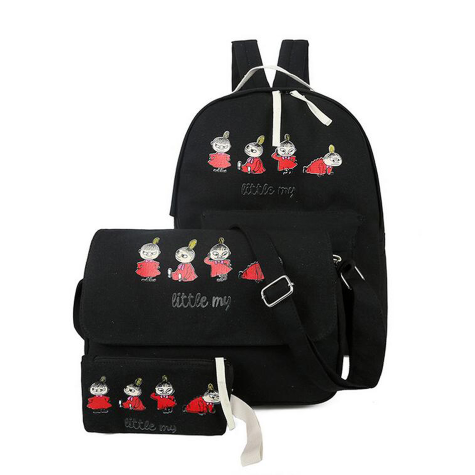 Luggage&bags Cute women backpack character canvas backpacks for teenage girls School bag set travel Rucksack Mochila 3 pcs/set ciker brand city printing backpack women canvas backpacks for teenage girls casual travel school bags rucksack mochila sac a dos