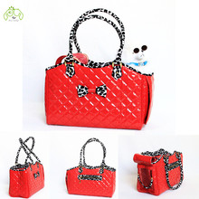 Fashion Red Leather Pet Dog Carrier Travel Bag For Small Animal Dog Airline Approved Bag Carrier Handbag High Quality Wholesale