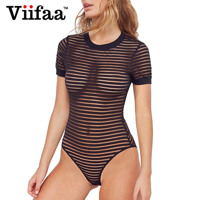 Viifaa Sexy Schwarz Body Frauen Sehen-Durch Mesh Bodycon Bodys Transparent Körper Femme Nacht Heraus Sommer Party Bodys