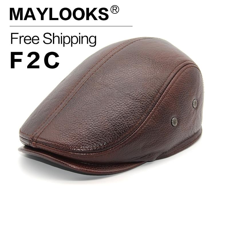 CS11 New Design Men S 100 Genuine Leather Baseball Cap Brand Newsboy Beret Cabbie Hat Golf