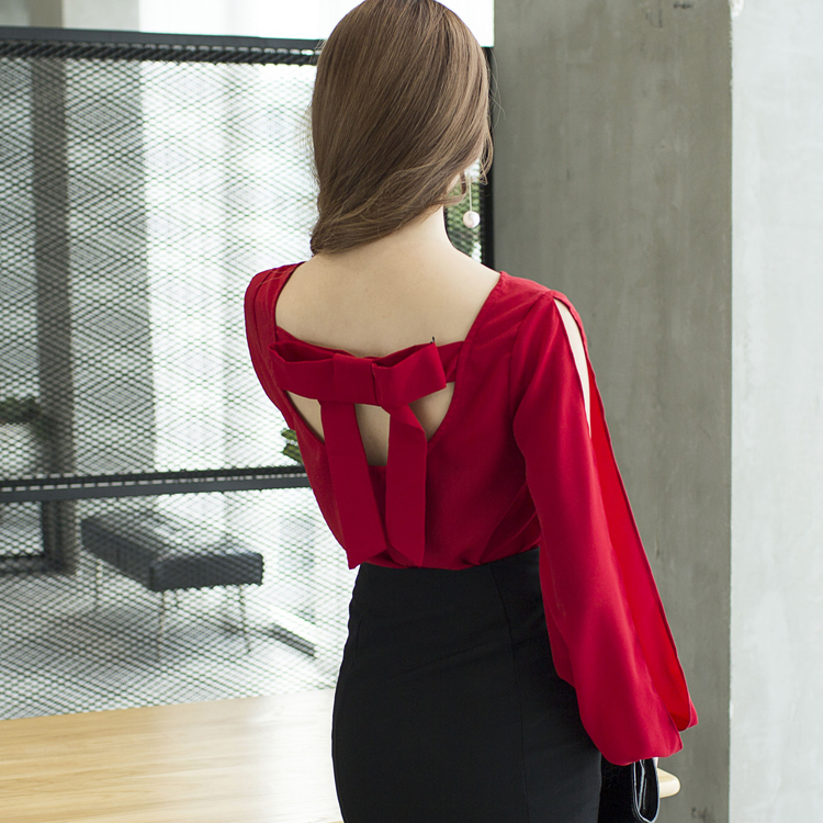 2017 New Autumn Lantern Sleeve Loose O-Neck Sexy Strapless Backless   Blouse     Shirt   Red 533