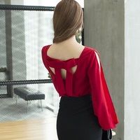 2017 New Autumn Lantern Sleeve Loose O Neck Sexy Strapless Backless Blouse Shirt Red 533