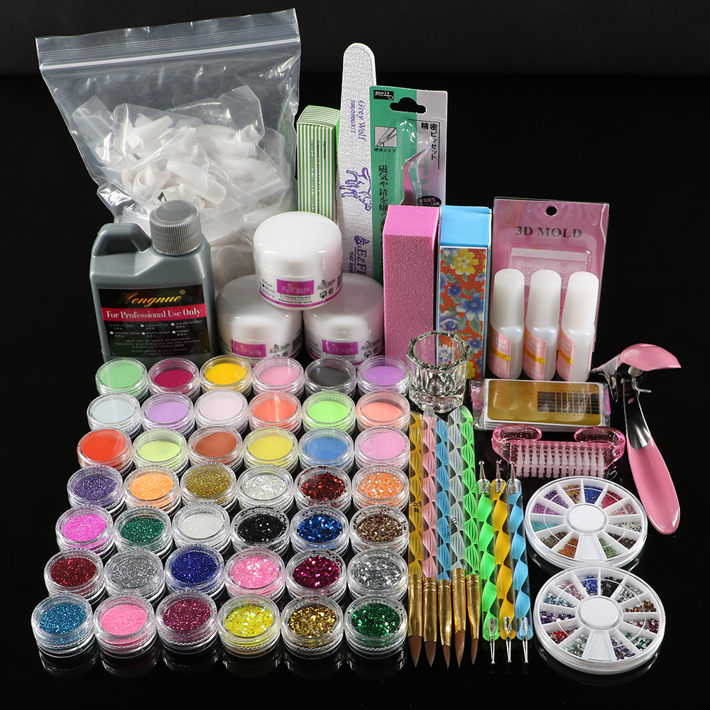 Professional 42 Acrylic Liquid Powder Glitter Clipper Primer File Nail Art Tips Tool Brush Tools Set Kit new 42x acrylic nail art tips powder liquid brush glitter clipper primer file set
