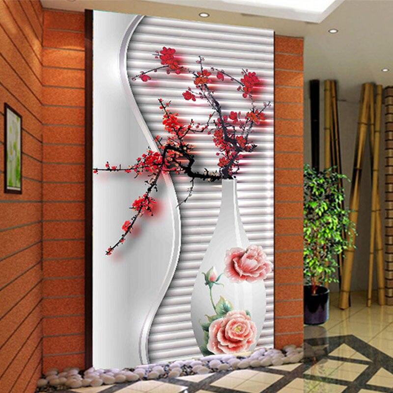Photo wallpaper modern 3d stereo plum flower vase mural for Hotel wall decor