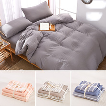 Futon 9 Colors Available 100 Washable Cotton Solid Color Ed Sheet Set Sanding Pillowcases Bedding Linen