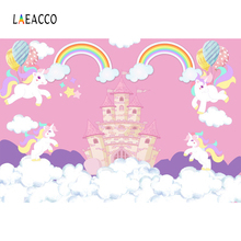Laeacco Cartoon Unicorn Castle Rainbow Clouds Baby Party Photography Backgrounds Customized Photo Backdrops For Studio