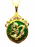 Natural Chalcedony Pendant Plated 24K Gold Dragon Necklace Vintage Jewelry Gift Wholesale