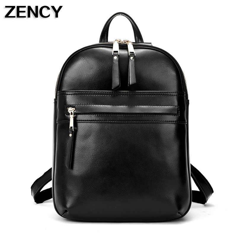 2019 transporte rápido mochilas femininas de couro genuíno diário mochila feminina menina escola ombro mochila