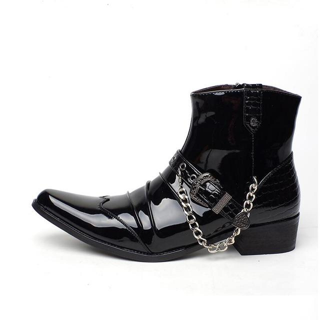 British luxury fashion men's punk night club wear cow leather shoes point toe oxford shoe motorcycle martin ankle boots zapatos
