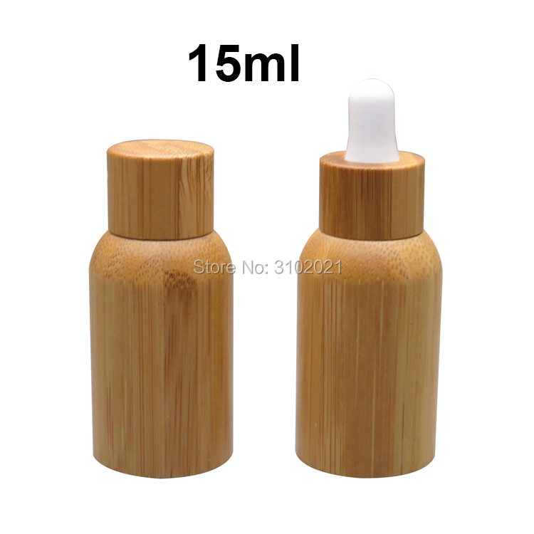 20pcs/lol 15ml Empty Bamboo Wood Glass Medicine Liquid Refillable Essential Oil Dropper Bottle with screw/dropper cover pipette free shipping 15ml 20 50pcs lot transparent pet medicine refillable bottle capsules liquid packing bottle with white screw cap