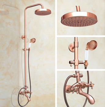 Shower Faucets Antique Red Copper Shower Set Faucet Tub Mixer Tap Handheld Shower Wall Mounted zrg505 thermostatic triple shower panel handles bathroom faucet wall mounted shower faucets with tub filler mixer tap