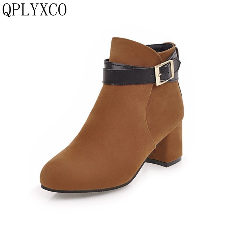 QPLYXCO 2017 New fashion Big small Size 31-45 Spring Autumn Winter ankle Boots shoes Women zipper short Boots High Heel 3-11 купить дешево онлайн
