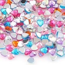 Около 100 шт 6 мм смешанных цветов милое сердце акриловые плоские искусственные бриллианты DIY Дизайн ногтей/украшение телефона DIY Аксессуары