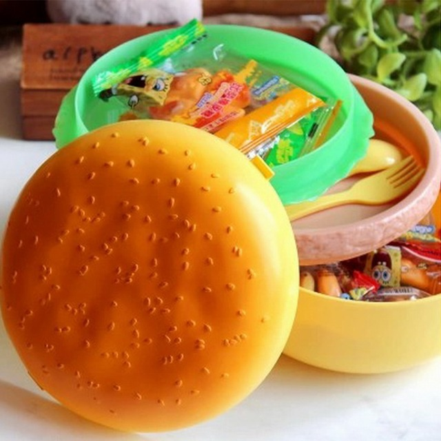 Hamburger Children Bento Lunch Box For Kids Food Container Storage With Spoon Fork Set Plastic Picnic Camping Dinnerware Set Hot
