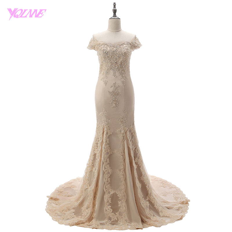 YQLNNE 2018 Champagne Long   Prom     Dresses   Mermaid Evening Party   Dress   Lace Tulle Vestido De Festa