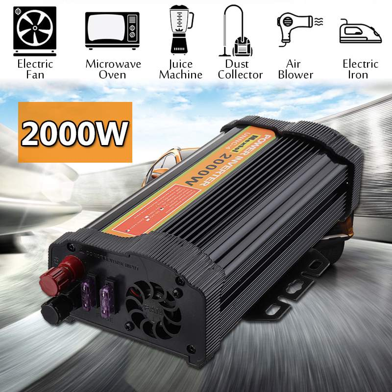 Power Inverter 2000W DC 12 V to AC 220 V Volt Car Adapter Charge Converter Modified Sine Wave USB Max 4000 Watts TransformerPower Inverter 2000W DC 12 V to AC 220 V Volt Car Adapter Charge Converter Modified Sine Wave USB Max 4000 Watts Transformer