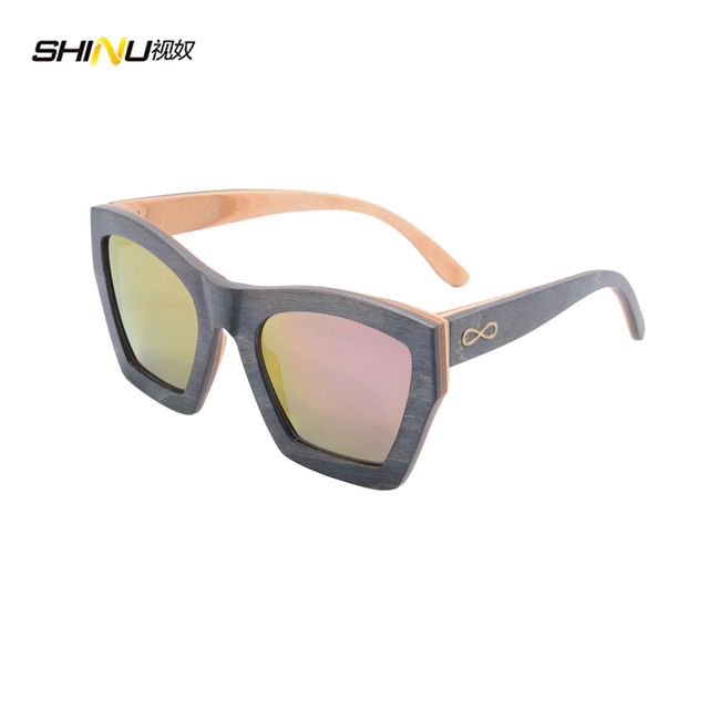 43b242149fb oversized wooden sunglasses wrap ebony wood sun glasses purple CR39 lens  with logo bamboo box 5002