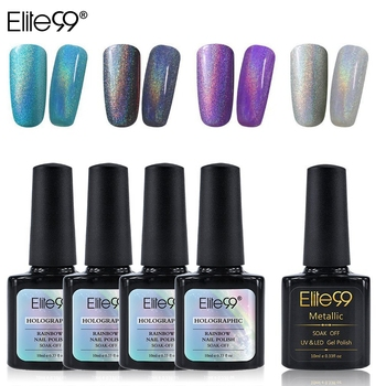 Elite99 5 teile/los Holographische Regenbogen Nagellack Set mit Tränken Weg Vom UV LED Metallic Top Mantel Gel Polish Nagel Kunst maniküre 10ML