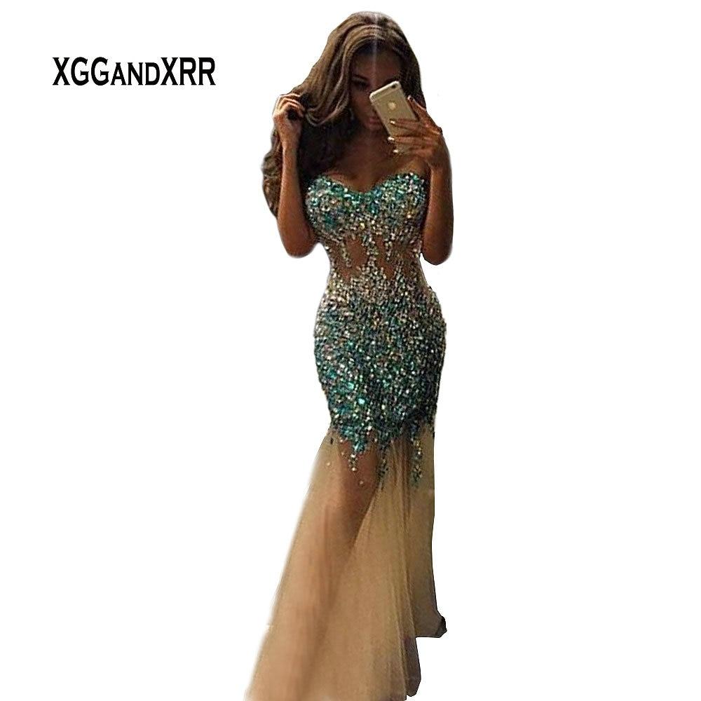 Luxury Sparkly Long Tulle   Prom     Dress   2018 Sexy Mermaid Luxury Crystal Beaded Rhinestone abendkleider gala jurken galajurken