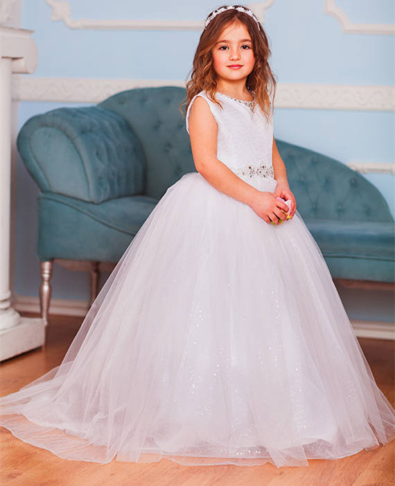 High Quality Custom Flower Girls Dress 2019 White Lace Sequins Ball Gown Princess First Communion Dress with Beaded Sash