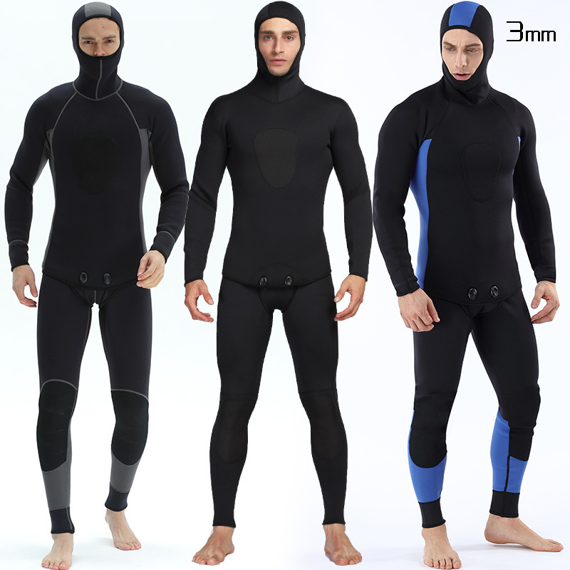 Keeping Warm Professional 3MM 2 Piece Neoprene Scuba Dive Wetsuit Zipper Split Spearfishing Wet Suit Hooded Diving Suits For Men-in Wetsuit from Sports & Entertainment    1