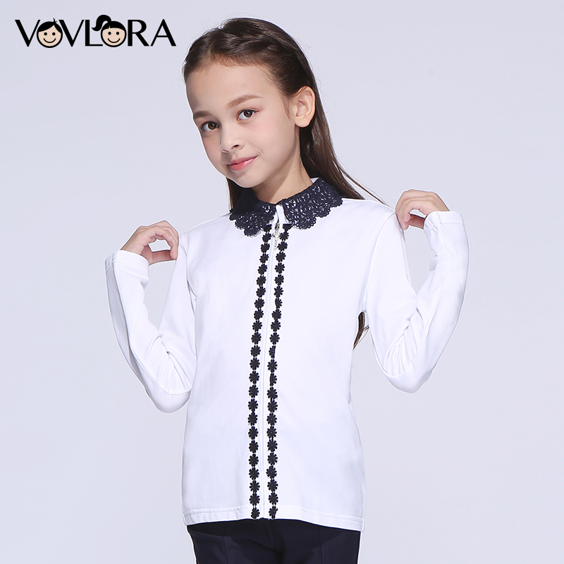 Girls blouses lace cotton kids white school blouse shirts spring children clothes NEW 2018 fashion size 9 10 11 12 13 14 years