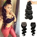 7A Brazilian Virgin Hair Weave Bundles With Closure Body Wave 3 Bundles With Lace Closure Soft Unprocessed Human Hair Extension
