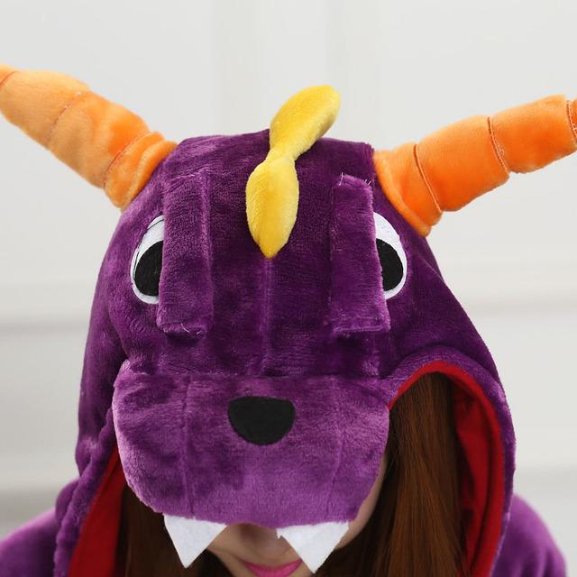 Women Onesie Spyro Dragon Pajama Men Adult Purple Animal Character Costume Funny Festival Party Jumpsuit Winter Warm Play Suit