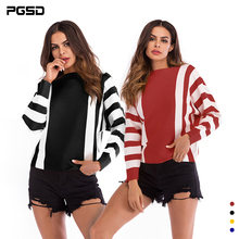 PGSD Autumn Winter Simple fashion Women Clothes Colour Striped Bat Sleeve Knitted sweater Loose Pullover Tops T-shirt female