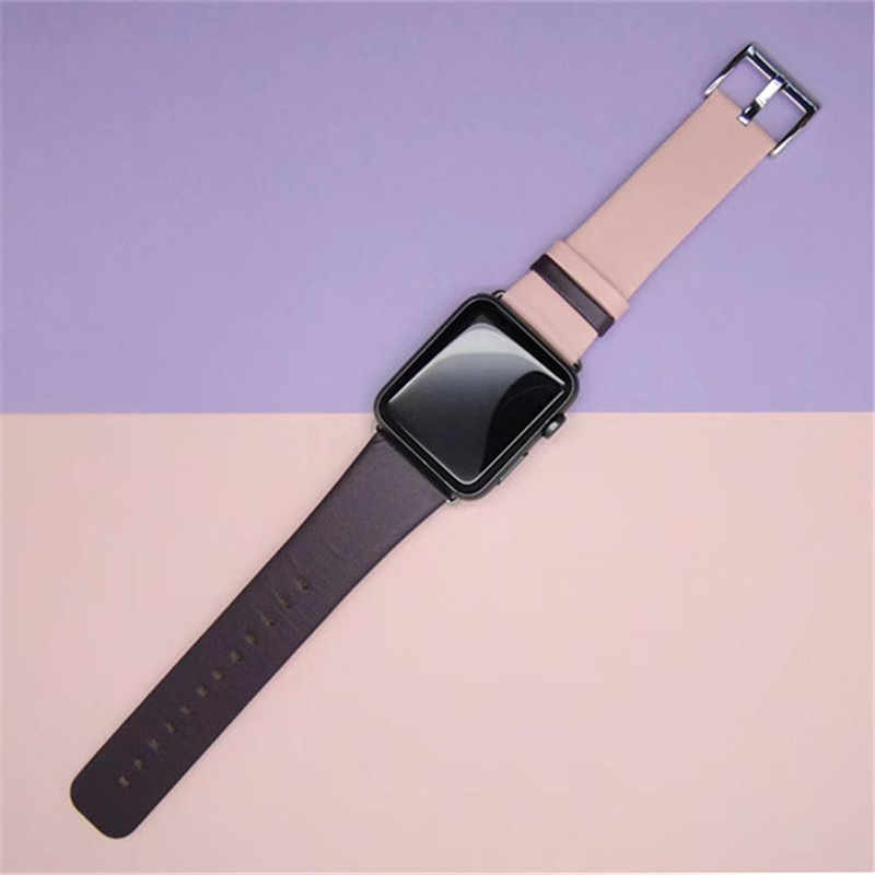 Fashion Two-color Watchband For Apple Watch Band 38mm 40mm Genuine Leather Strap For iWatch 42mm 44mm Series 1 2 3 4 Bracelet