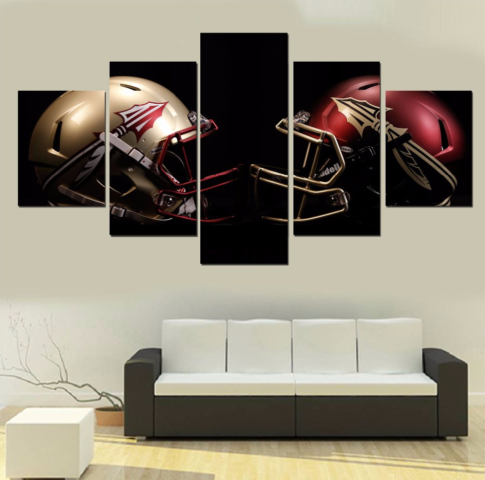 5 Pcs HD Printed American Football Helmet Picture Wall Art Canvas Print Poster Canvas Oil Painting wall pictures for living room