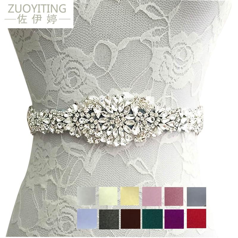 ZUOYITING,Crystal Wedding Belts Satin Rhinestone Wedding Dress Belt Wedding Accessories Bridal Ribbon Sash Belt