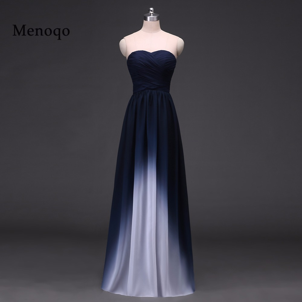 Menoqo Vestido de festa Design A Line Ombre Evening Gowns Chiffon Formal Long Elegant   Prom     Dresses