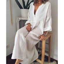Laamei 2019 Cotton Solid Women Dress Casual V Neck Mujer Dresses Long Sleeve Sundress Maxi Beach Dress Plus Size Sexy Vestidos