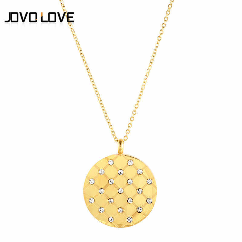 Stainless Steel Pendant Necklace CZ Crystal Indian Jewelry Silver Gold Color Round Disc Long Choker Necklace for Best Friends