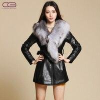 2012 Мода Новый сверхбольших Лисий мех воротника плюс хлопок натуральная кожаная куртка, элегантный тонкий полушубок, бесплатная доставка