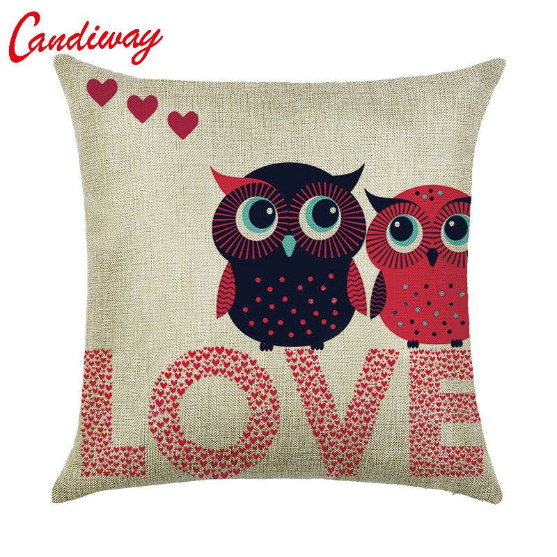 CANDIWAY Cushion Pillow Case Owl Lover Heart Throw Pillow Cover Self-portrait Bedroom Home Decorative