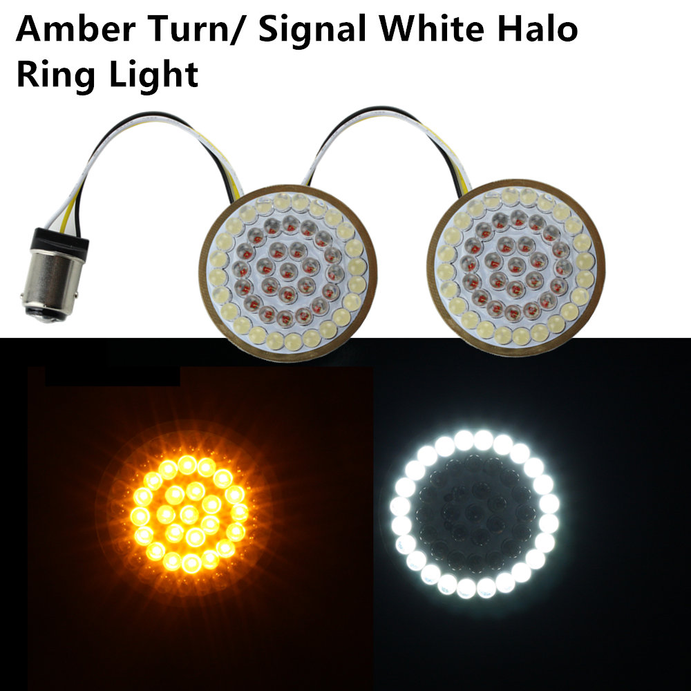 "Motorcycle Light 2"" Bullet Style 1157 LED Inserts Turn Signal Panel For Harley Sportster Softail Touring Dyna 2013-2017 2 PCS"