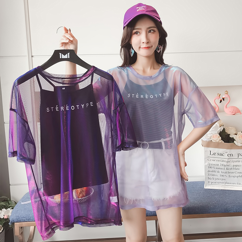Gkfnmt Fashion Hollow Out   T     Shirt   Women Sexy Transparent Summer Tops Ladies Short Sleeve Loose Two set   T  -  Shirts   Women Tee   Shirt