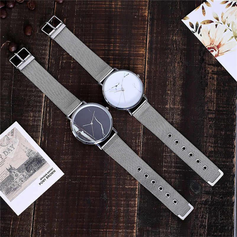 ساعة يد نسائية رخامية أنيقة من أفضل العلامات التجارية ، حزام شبكي فائق الرقة ، ساعة يد كوارتز للنساء