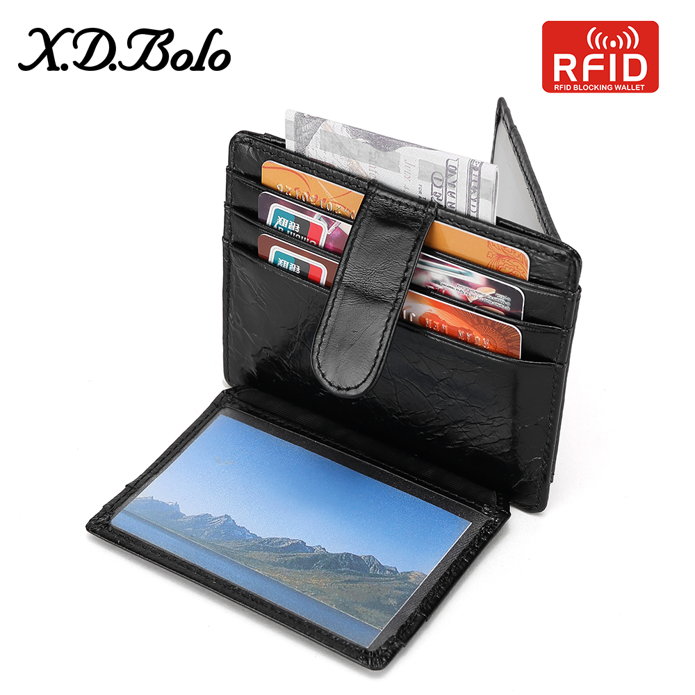Male Wallet RFID Small Vintage Mini Genuine-Leather Card-Holders Short Men with for Bag