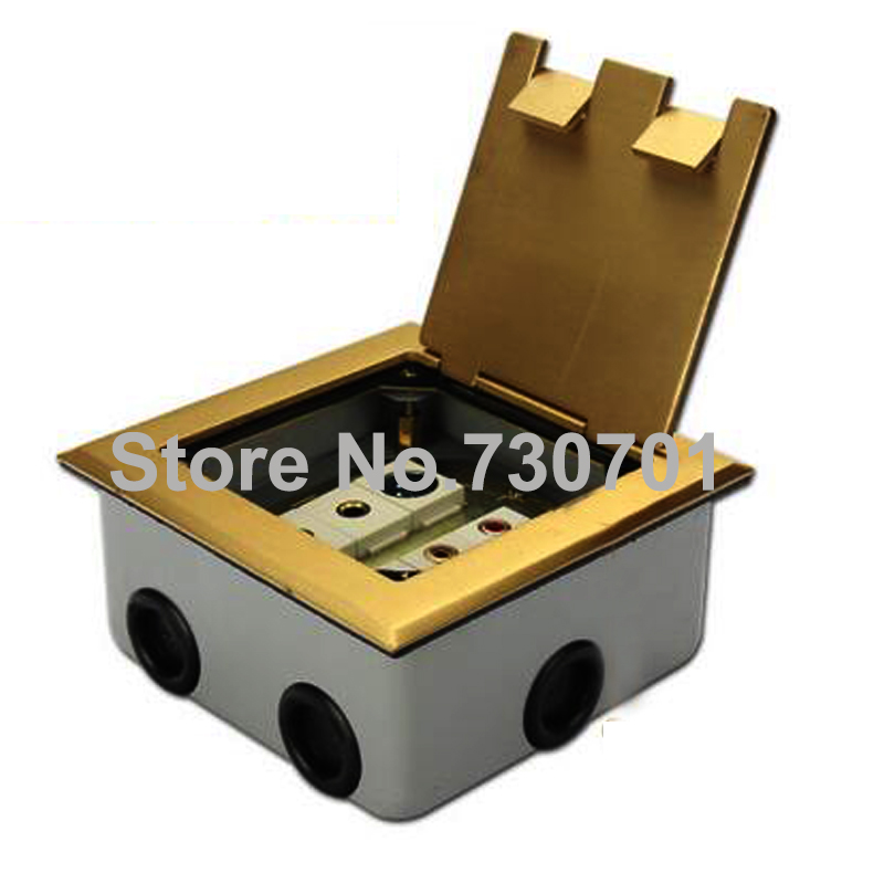 Flip up type floor socket box dual connector box copper stainless steel material Site computer phone jack copper wire grounding